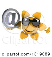 Clipart Of A 3d Happy Sun Character Wearing Shades Giving A Thumb Up And Holding An Email Arobase At Symbol Royalty Free Illustration