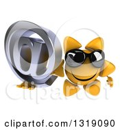 Clipart Of A 3d Happy Sun Character Wearing Shades And Holding Up An Email Arobase At Symbol Royalty Free Illustration