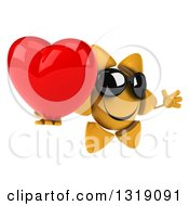 Clipart Of A 3d Happy Sun Character Wearing Shades Facing Right Jumping And Holding A Heart Royalty Free Illustration