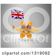 Clipart Of A 3d Sun Character Wearing Shades Giving A Thumb Up And Holding A British Union Jack Flag On Gray Royalty Free Illustration