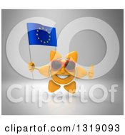 Clipart Of A 3d Sun Character Wearing Shades Giving A Thumb Up And Holding A European Flag On Gray Royalty Free Illustration
