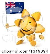 Clipart Of A 3d Sun Character Walking To The Left And Holding An Australian Flag Royalty Free Illustration