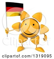 Clipart Of A 3d Sun Character Holding A German Flag Royalty Free Illustration