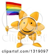 Clipart Of A 3d Sun Character Holding And Pointing To A Rainbow Flag Royalty Free Illustration