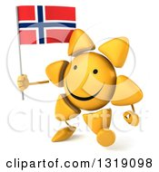 Clipart Of A 3d Sun Character Walking Slightly Left And Holding A Norwegian Flag Royalty Free Illustration