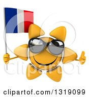Clipart Of A 3d Sun Character Wearing Shades Giving A Thumb Up And Holding A French Flag Royalty Free Illustration