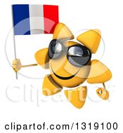 Clipart Of A 3d Sun Character Wearing Shades Facing Left And Holding A French Flag Royalty Free Illustration