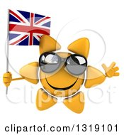 Clipart Of A 3d Sun Character Wearing Shades Jumping And Holding A British Union Jack Flag Royalty Free Illustration