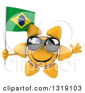 Clipart Of A 3d Sun Character Wearing Shades Jumping And Holding A Brazilian Flag Royalty Free Illustration