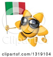 Clipart Of A 3d Sun Character Wearing Shades Facing Left And Holding An Italian Flag Royalty Free Illustration