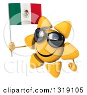 Clipart Of A 3d Sun Character Wearing Shades Facing Left And Holding A Mexican Flag Royalty Free Illustration