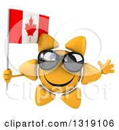 Clipart Of A 3d Sun Character Wearing Sunglasses Jumping And Holding A Canadian Flag Royalty Free Illustration
