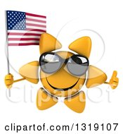 Clipart Of A 3d Sun Character Wearing Shades Giving A Thumb Up And Holding An American Flag Royalty Free Illustration