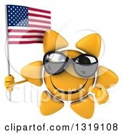Clipart Of A 3d Sun Character Wearing Shades Holding And Pointing To An American Flag Royalty Free Illustration