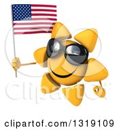 Clipart Of A 3d Sun Character Wearing Shades Facing Left And Holding An American Flag Royalty Free Illustration