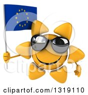 Clipart Of A 3d Sun Character Wearing Shades And Holding A European Flag Royalty Free Illustration