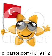 Clipart Of A 3d Sun Character Wearing Shades Jumping And Holding A Turkish Flag Royalty Free Illustration