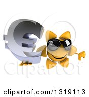 Clipart Of A 3d Happy Sun Character Holding Up A Thumb Down And A Euro Symbol Royalty Free Illustration