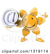 Clipart Of A 3d Happy Sun Character Holding Up A Finger And An Email Arobase At Symbol Royalty Free Illustration