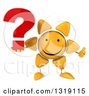 Clipart Of A 3d Happy Sun Character Giving A Thumb Up And Holding A Question Mark Royalty Free Illustration