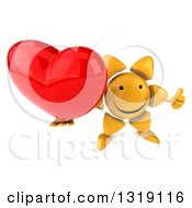 Clipart Of A 3d Happy Sun Character Holding Up A Thumb And A Heart Royalty Free Illustration