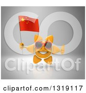 Clipart Of A 3d Sun Character Wearing Shades Holding A Chinese Flag And Giving A Thumb Up On Gray Royalty Free Illustration