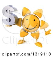 Clipart Of A 3d Happy Sun Character Shrugging And Holding A Dollar Symbol Royalty Free Illustration