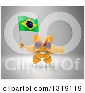 Clipart Of A 3d Sun Character Wearing Shades Giving A Thumb Up And Holding A Brazilian Flag On Gray Royalty Free Illustration