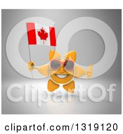 Clipart Of A 3d Sun Character Wearing Sunglasses Giving A Thumb Up And Holding A Canadian Flag Over Gray Royalty Free Illustration