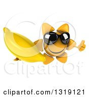 Clipart Of A 3d Happy Sun Character Wearing Sunglasses Giving A Thumb Up And Holding A Banana Royalty Free Illustration