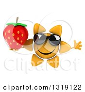Clipart Of A 3d Happy Sun Character Wearing Sunglasses Jumping And Holding A Strawberry Royalty Free Illustration