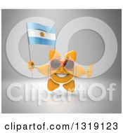 Clipart Of A 3d Sun Character Wearing Sunglasses Giving A Thumb Up And Holding An Argentine Flag On Gray Royalty Free Illustration