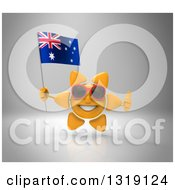 Clipart Of A 3d Sun Character Wearing Shades Giving A Thumb Up And Holding An Australian Flag On Gray Royalty Free Illustration