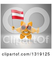 Clipart Of A 3d Sun Character Wearing Shades Holding An Austrian Flag And Giving A Thumb Up On Gray Royalty Free Illustration