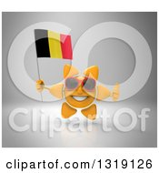Clipart Of A 3d Sun Character Wearing Shades Holding A Belgian Flag And Giving A Thumb Up On Gray Royalty Free Illustration