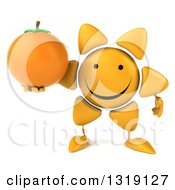 Clipart Of A 3d Happy Sun Character Holding A Navel Orange Royalty Free Illustration