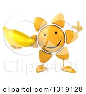 Clipart Of A 3d Happy Sun Character Holding Up A Finger And A Banana Royalty Free Illustration