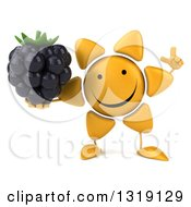 Clipart Of A 3d Happy Sun Character Holding Up A Finger And A Blackberry Royalty Free Illustration