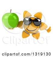 Clipart Of A 3d Happy Sun Character Wearing Sunglasses Giving A Thumb Up And Holding A Green Apple Royalty Free Illustration