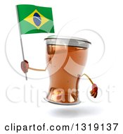 Clipart Of A 3d Beer Mug Character Holding A Brazilian Flag Royalty Free Illustration