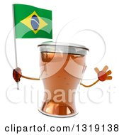 Clipart Of A 3d Beer Mug Character Holding A Brazilian Flag And Jumping Royalty Free Illustration