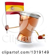 Clipart Of A 3d Beer Mug Character Shrugging And Holding A Spanish Flag Royalty Free Illustration