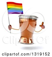 Clipart Of A 3d Beer Mug Character Holding Up A Finger And A Rainbow Flag Royalty Free Illustration