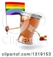 Clipart Of A 3d Beer Mug Character Shrugging And Holding A Rainbow Flag Royalty Free Illustration