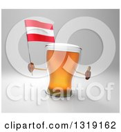 Clipart Of A 3d Beer Mug Character Holding An Austrian Flag And Giving A Thumb Up Over Gray Royalty Free Illustration