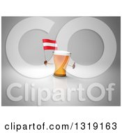 Clipart Of A 3d Beer Mug Character Holding An Austrian Flag And Giving A Thumb Up Over Gray 2 Royalty Free Illustration