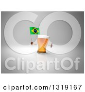 Clipart Of A 3d Beer Mug Character Holding A Brazilian Flag And Giving A Thumb Up 2 Royalty Free Illustration