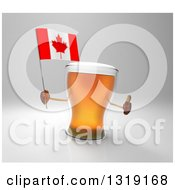 Clipart Of A 3d Beer Mug Character Holding A Canadian Flag And Giving A Thumb Up On Gray Royalty Free Illustration