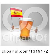 Clipart Of A 3d Beer Mug Character Holding A Spanish Flag And Giving A Thumb Up On Gray Royalty Free Illustration