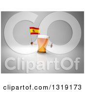 Clipart Of A 3d Beer Mug Character Holding A Spanish Flag And Giving A Thumb Up On Gray 2 Royalty Free Illustration
